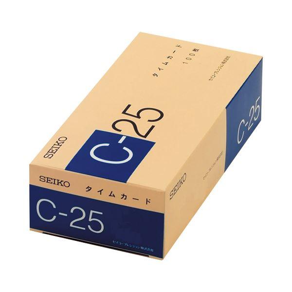 (まとめ) セイコープレシジョン セイコー用タイムカード 25日締 日付印字あり C-25カ-ド 1パック(100枚) 【×10セット】