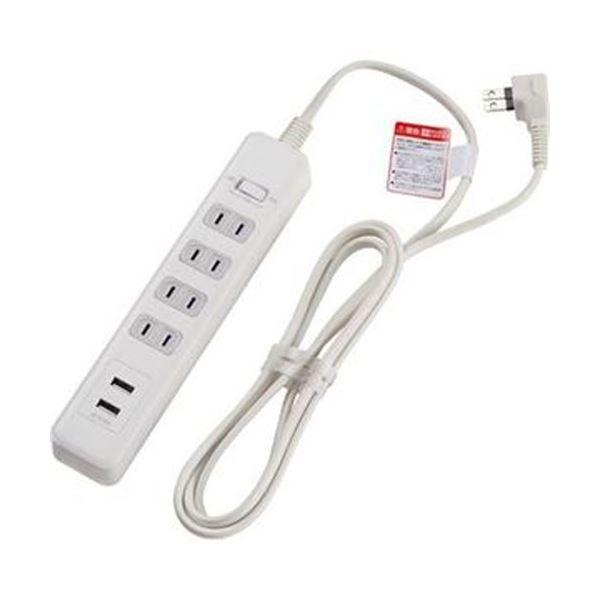 (まとめ)ELPA 耐雷 USB付きタップ 4個口2m ホワイト WLS-402USB(W)1個【×10セット】