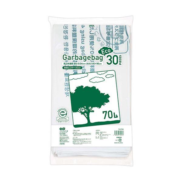 (まとめ)TANOSEE リサイクルポリ袋(エコデザイン)乳白半透明 70L 1パック(30枚)【×10セット】