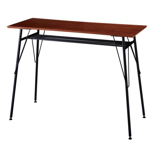モダン カウンターテーブル/ハイテーブル 【ブラウン】 幅120×奥行45×高さ87cm スチールフレーム【代引不可】