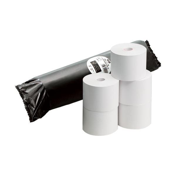 (まとめ) TANOSEE FSC認証レジ用感熱ロール紙 コアレスタイプ 中保存 幅58mm×長さ63m 直径80mm 1パック(5巻) 【×10セット】