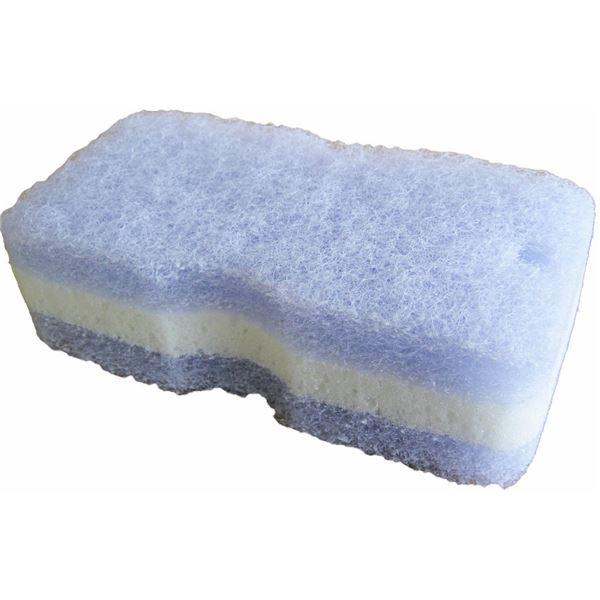 (まとめ) バスツインスポンジ/バススポンジ 【ブルー】 風呂掃除 『サッとる』 【130個セット】