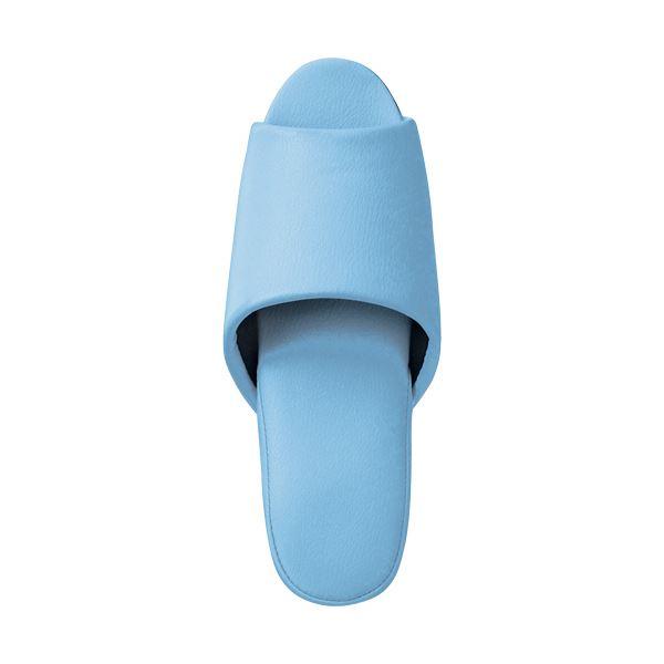 (まとめ)抗菌ビニールレザー調スリッパ(前開き) ブルー 10足【×3セット】