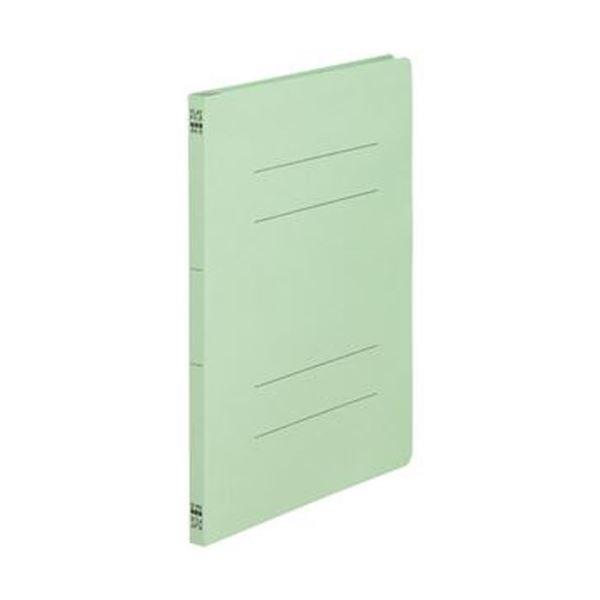 (まとめ)TANOSEE フラットファイル(ノンステープルタイプ)A4タテ 150枚収容 背幅18mm 緑 1パック(10冊)【×50セット】