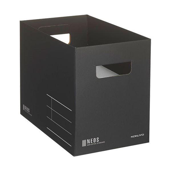 (まとめ)コクヨ 収納ボックス(NEOS)Mサイズ ブラック A4-NEMB-D 1セット(10個)【×3セット】