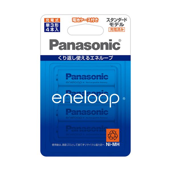 (まとめ) パナソニック 充電式ニッケル水素電池eneloop スタンダードモデル 単3形 BK-3MCC/4C 1パック(4本) 【×10セット】