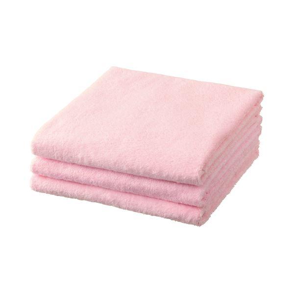 (まとめ) TANOSEE バスタオル ピンク 1パック(3枚) 【×5セット】