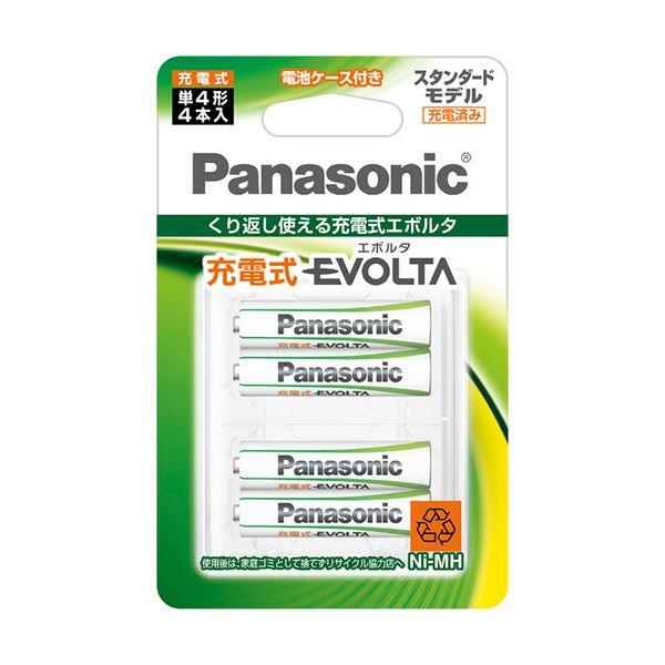 (まとめ) パナソニック ニッケル水素電池充電式EVOLTA スタンダードモデル 単4形 BK-4MLE/4BC 1パック(4本) 【×10セット】
