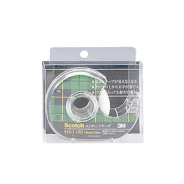 (まとめ) 3M スコッチ メンディングテープ 810 小巻 18mm×30m ディスペンサー付 クリアケース入 810-1-18D 1個 【×30セット】