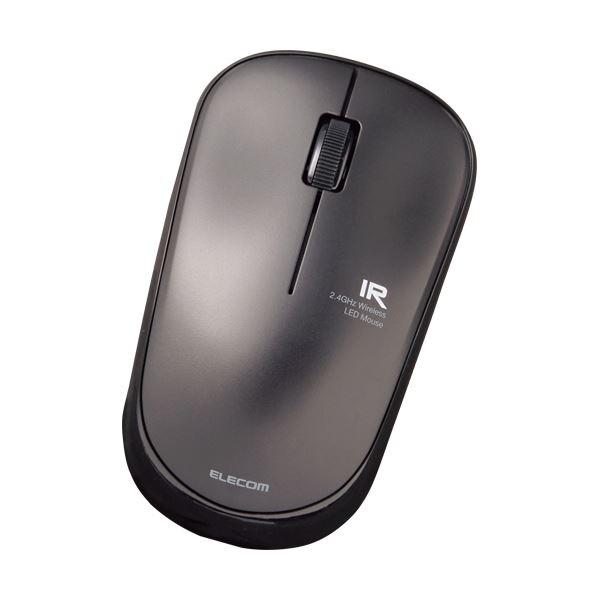 (まとめ)エレコム 3ボタン 無線IRマウス簡易パッケージ ブラック M-IR07DRBKT 1セット(5個)【×3セット】