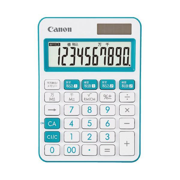 (まとめ)キヤノン ミニ卓上電卓 ブルー LS-105WUC-BL(×10セット)