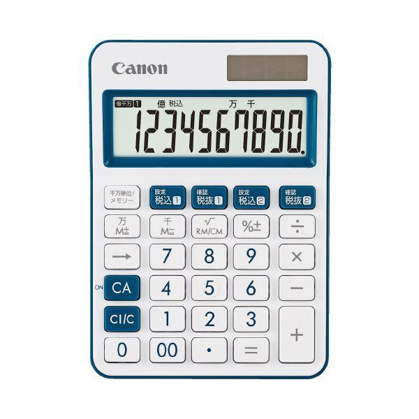 (まとめ)キヤノン ミニ卓上電卓 ネイビー LS-105WUC-NV(×10セット)