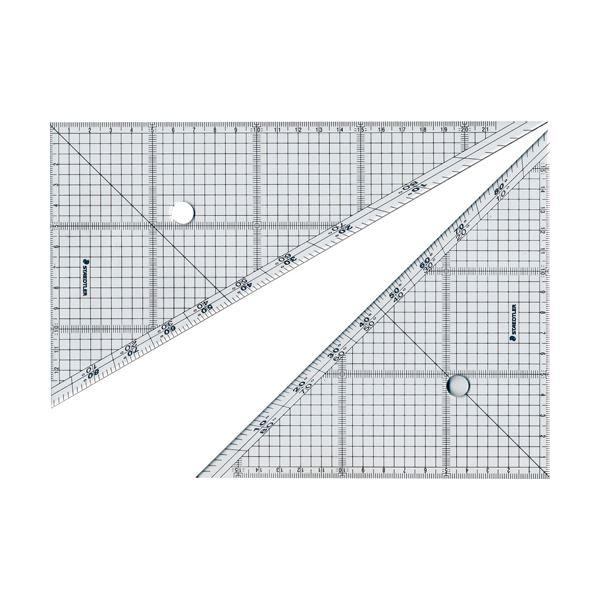 (まとめ) ステッドラー レイアウト用方眼三角定規 24cm 45°・60°ペア 966 24 1組 【×10セット】