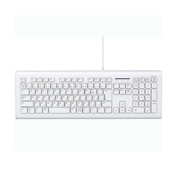 (まとめ) ナカバヤシ 有線静音キーボード ホワイトFKB-U246W 1台 【×5セット】