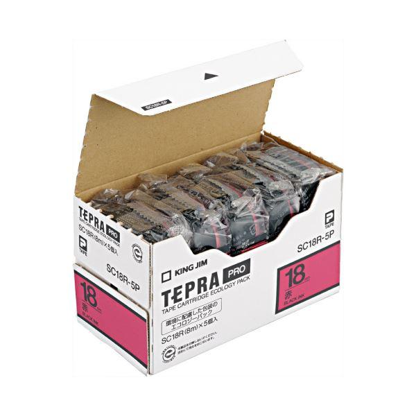 (まとめ)キングジム テプラ PRO テープカートリッジ パステル 18mm 赤/黒文字 SC18R-5P 1パック(5個)【×3セット】