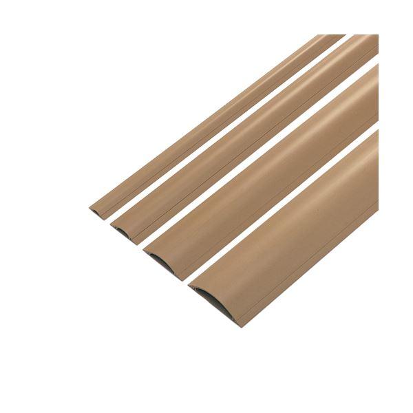 (まとめ) サンワサプライ ケーブルカバー幅90mm×長さ1m ライトブラウン CA-R90LBR 1本 【×10セット】