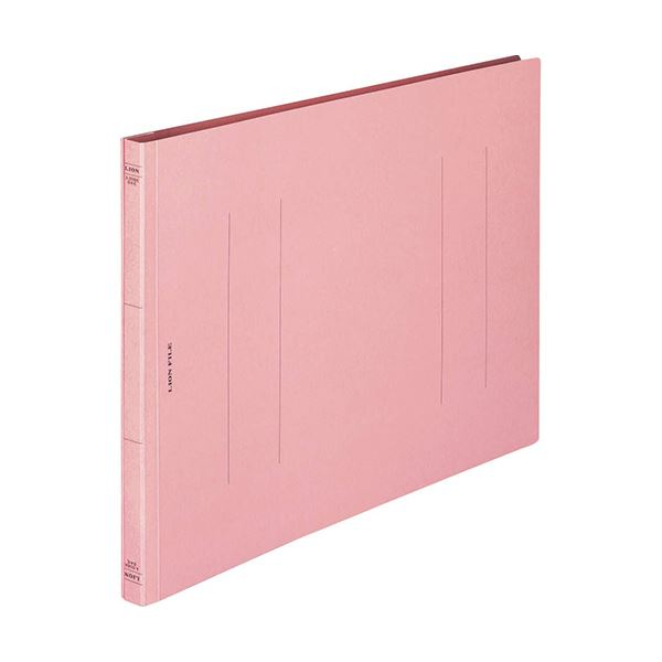 (まとめ) ライオン事務器 フラットファイル(環境) 樹脂押え具 B4ヨコ 150枚収容 背幅18mm ピンク A-506KB4E 1セット(10冊) 【×10セット】
