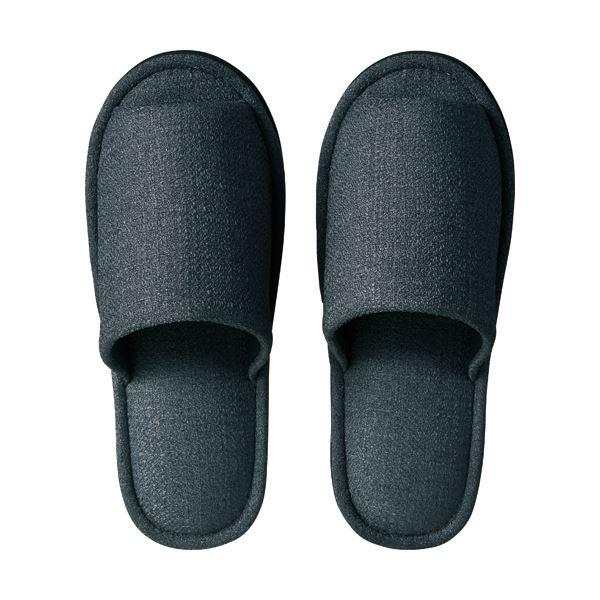 (まとめ) TANOSEE 外縫いスリッパ ブッチャー 大きめL チャコール 1足 【×10セット】
