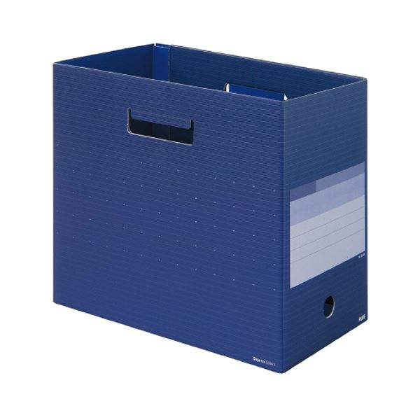 (まとめ) プラス デジャヴカラーズシリーズボックスファイル ワイド A4ヨコ 背幅160mm ネイビーブルー FL-024BFNB 1冊 【×30セット】