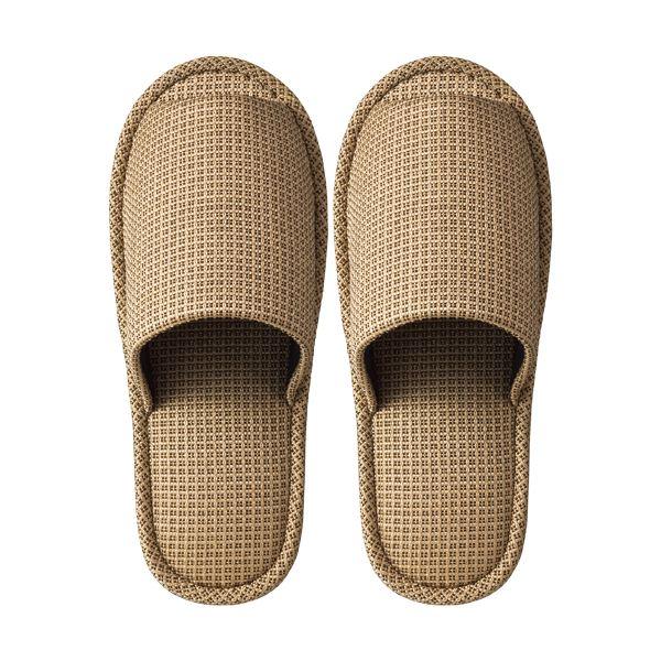 (まとめ) TANOSEE 外縫いスリッパ ラドクリフ ベージュ 1足 【×10セット】