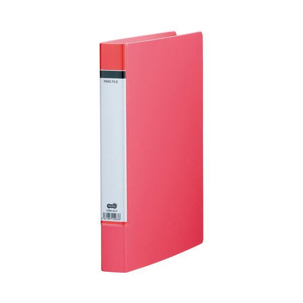 (まとめ) TANOSEE Oリングファイル(貼り表紙) A4タテ 2穴 200枚収容 背幅40mm ピンク 1セット(20冊) 【×5セット】