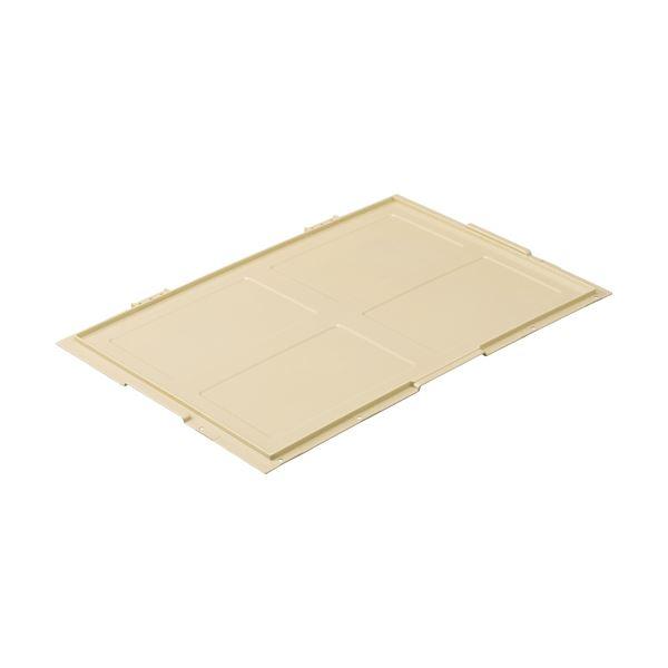 (まとめ) TANOSEE 折りたたみコンテナフタのみ 75L用 アイボリー 1枚 【×10セット】