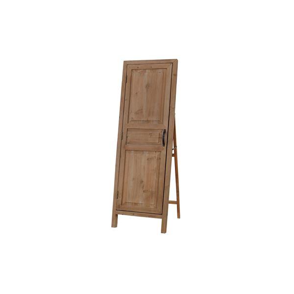 スタンドミラー/全身姿見鏡 【ライトブラウン 幅45cm】 木製 3mm飛散防止ミラー ドア型扉付き 『ソーレ ドアミラー』 〔寝室〕