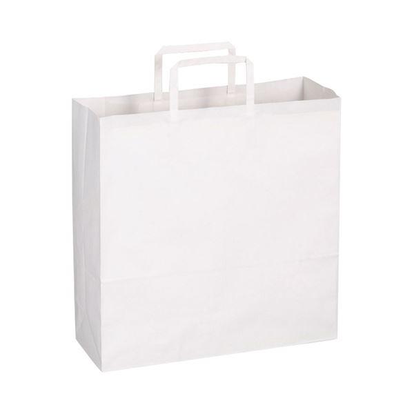 (まとめ)TANOSEE 紙手提袋 平紐 中ヨコ320×タテ320×マチ幅115mm 白無地 1パック(50枚)【×10セット】