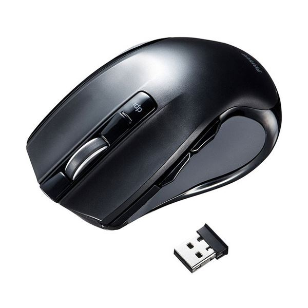 (まとめ) サンワサプライワイヤレスブルーLEDマウス ブラック MA-WBL38BK 1個 【×5セット】