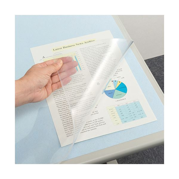 【スーパーセールでポイント最大44倍】(まとめ) TANOSEE 再生透明オレフィンデスクマット ダブル(下敷付) 1390×690mm ライトブルー 1枚 【×10セット】