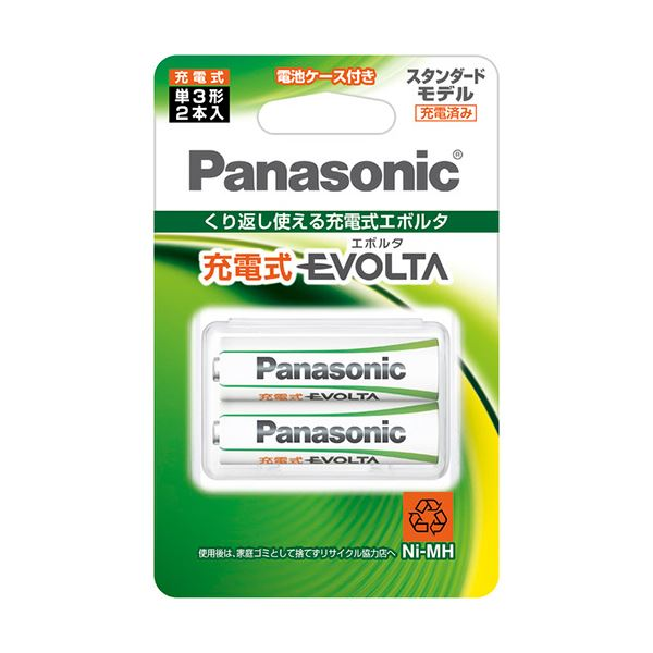 (まとめ) パナソニック ニッケル水素電池充電式EVOLTA スタンダードモデル 単3形 BK-3MLE/2BC 1パック(2本) 【×10セット】