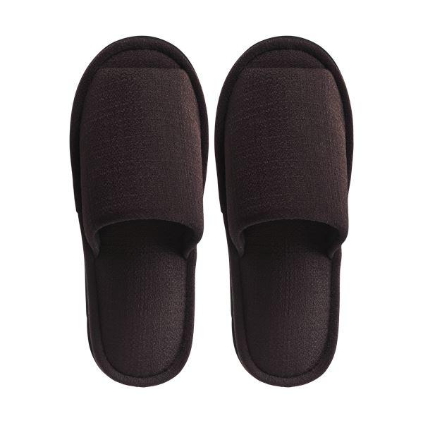 (まとめ) TANOSEE 外縫いスリッパ ブッチャー 大きめM ブラウン 1足 【×10セット】
