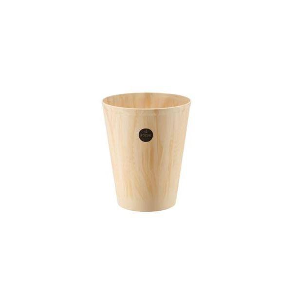 (まとめ) 木目調 ダストボックス/ゴミ箱 【L ベージュ】 プラスティック製 『コズエ カン』 【×20個セット】