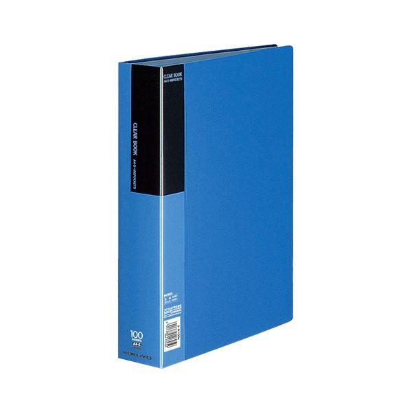 コクヨ クリヤーブック(ベーシック)固定式 A4タテ 100ポケット 背幅59mm 青 ラ-B100B 1セット(4冊)