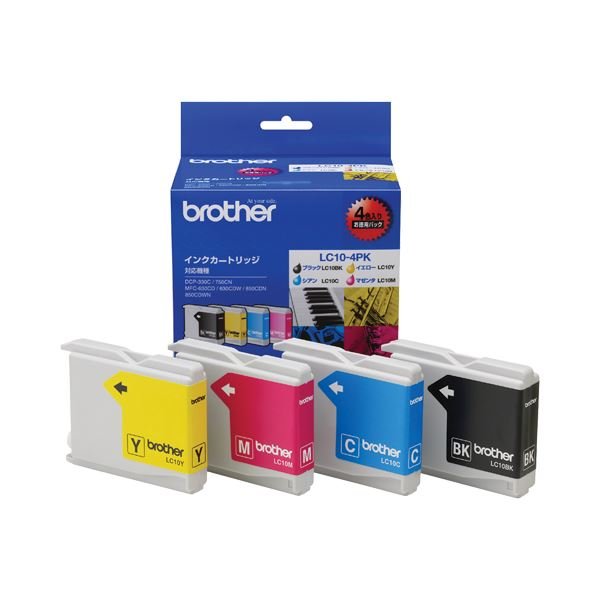 (まとめ) ブラザー BROTHER インクカートリッジ お徳用 4色 LC10-4PK 1箱(4個:各色1個) 【×10セット】