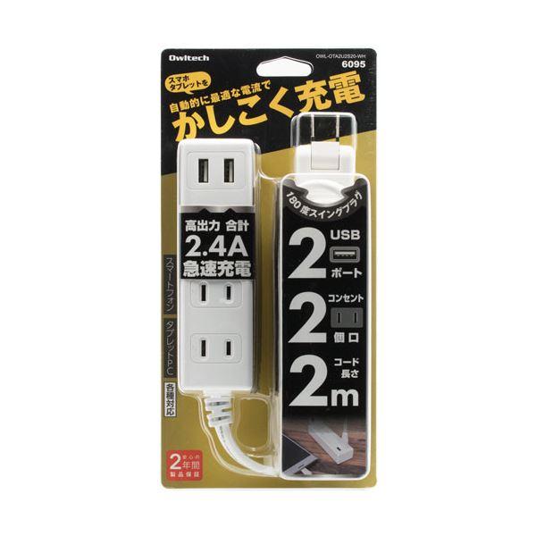 (まとめ) オウルテックUSB充電ポート付スマートOAタップ ホワイト 2m OWL-OTA2U2S20-WH 1個 【×5セット】