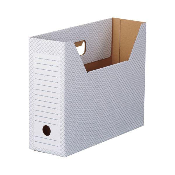(まとめ)TANOSEEボックスファイル(ホワイト) A4ヨコ 背幅100mm ブルー 1セット(50冊:10冊×5パック)【×3セット】