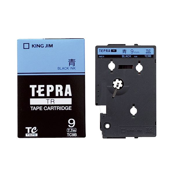 (まとめ) キングジム テプラ TR テープカートリッジ パステル 9mm 青/黒文字 TC9B 1個 【×10セット】