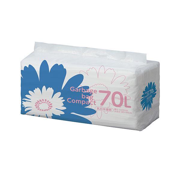 TANOSEE ゴミ袋 コンパクト乳白半透明 70L 1セット(400枚:50枚×8パック)