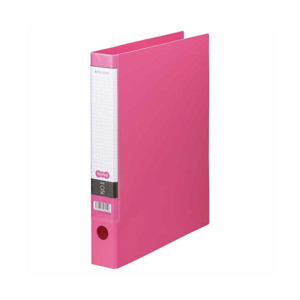 (まとめ) TANOSEE Oリングファイル A4タテ 2穴 250枚収容 背幅44mm ピンク 1セット(10冊) 【×5セット】