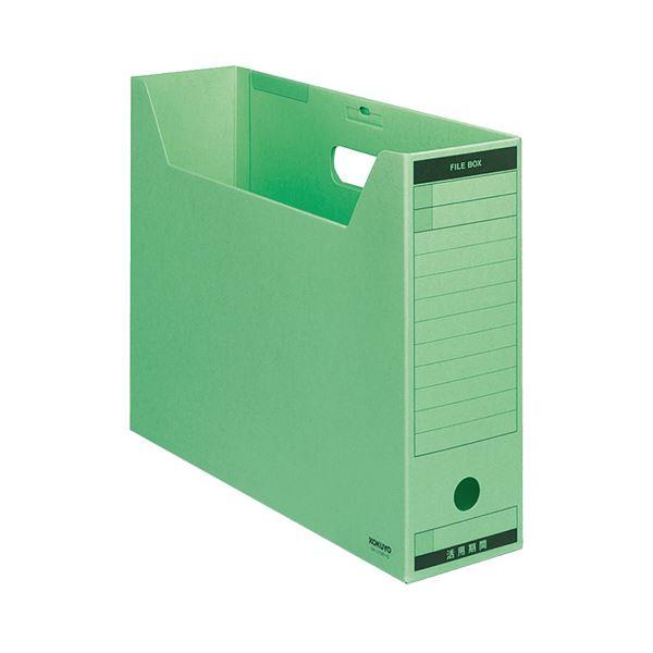 (まとめ) コクヨファイルボックス-FS(Bタイプ) B4ヨコ 背幅102mm 緑 フタ付 B4-LFBN-G 1パック(5冊) 【×10セット】