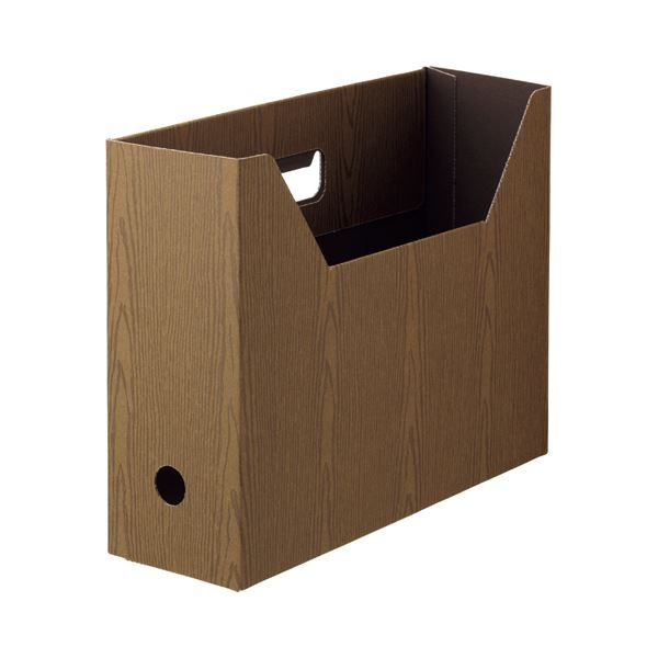 (まとめ) TANOSEEボックスファイル(WOODY) A4ヨコ 背幅100mm ブラウン 1セット(15冊:3冊×5パック) 【×10セット】