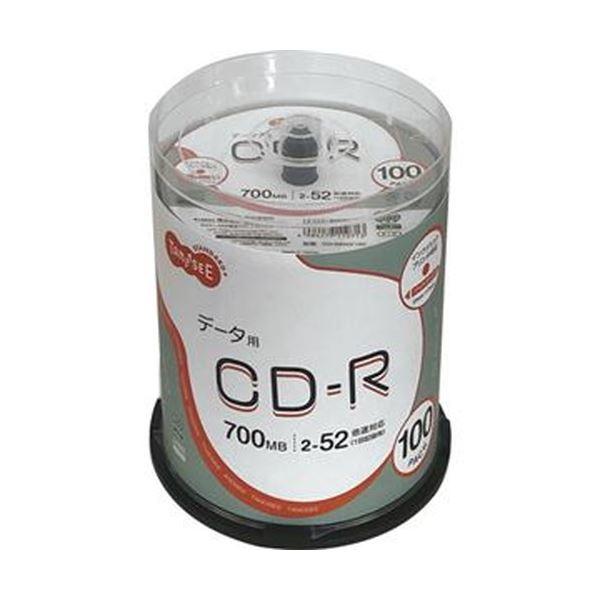 (まとめ)TANOSEE データ用CD-R700MB 52倍速 ホワイトワイドプリンタブル スピンドルケース 1パック(100枚)【×5セット】