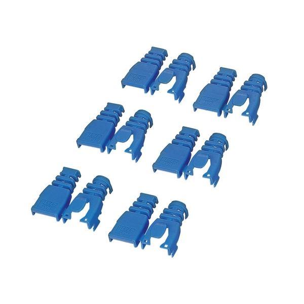 (まとめ) エレコム 後付タイプコネクタ保護カバーブルー LD-ABBU6 1セット(6個) 【×30セット】