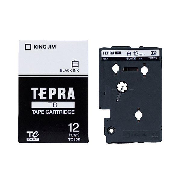 (まとめ) キングジム テプラ TR テープカートリッジ 12mm 白/黒文字 TC12S 1個 【×10セット】