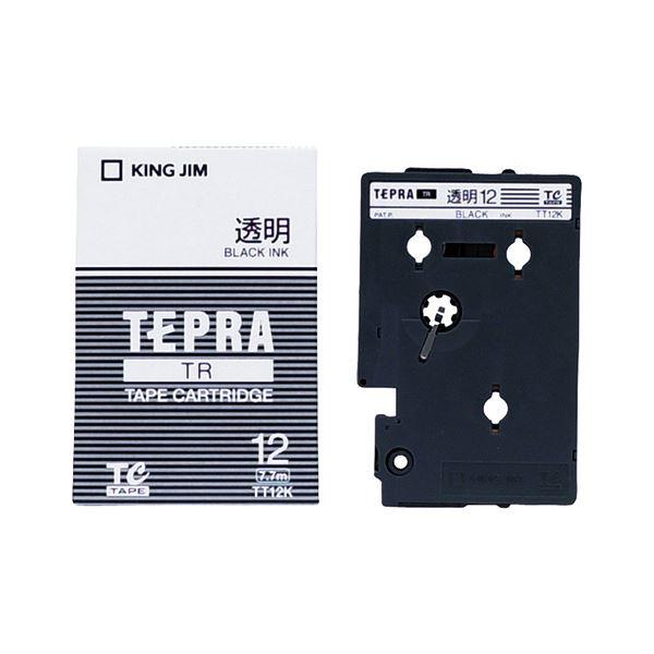 (まとめ) キングジム テプラ TR テープカートリッジ 12mm 透明/黒文字 TT12K 1個 【×10セット】