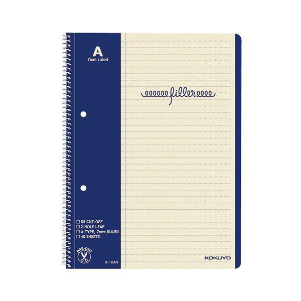 (まとめ) コクヨ フィラーノート(スパイラルとじ)B5 2穴 A罫(マージン罫入) 40枚 ス-10AN 1冊 【×50セット】