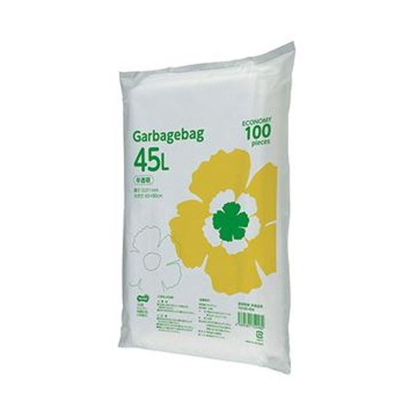 (まとめ)TANOSEE ゴミ袋エコノミー 半透明 45L 1パック(100枚)【×20セット】
