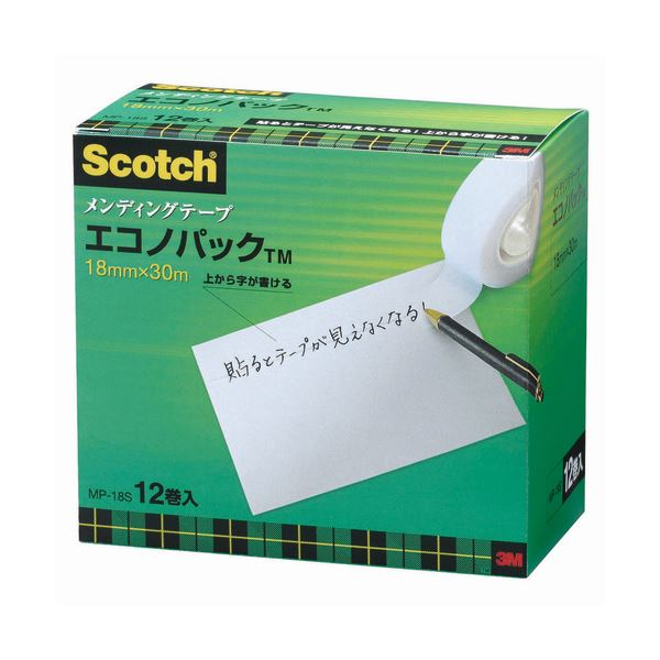 (まとめ)3M スコッチ メンディングテープ エコノパック 小巻 18mm×30m 紙箱入 業務用パック MP-18S 1パック(12巻)【×3セット】