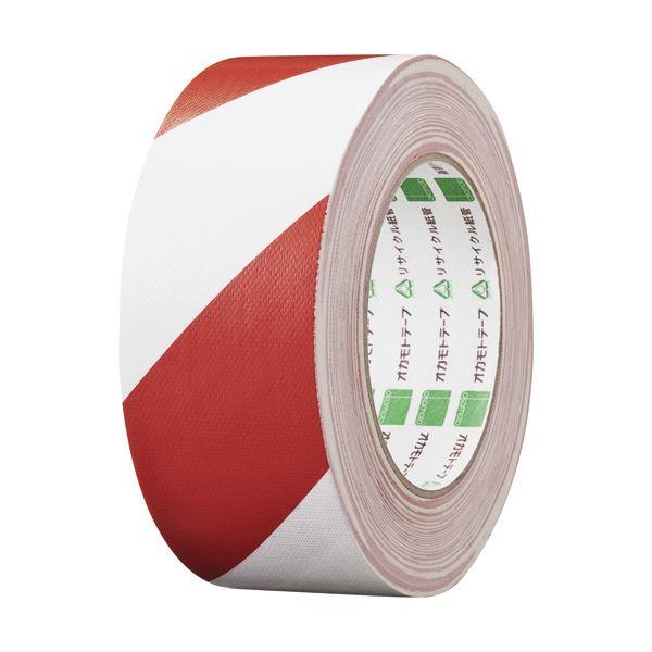 【スーパーセールでポイント最大44倍】(まとめ) オカモト 布トラテープ 50mm×25m 赤/白 No.111トラRW 1巻 【×10セット】